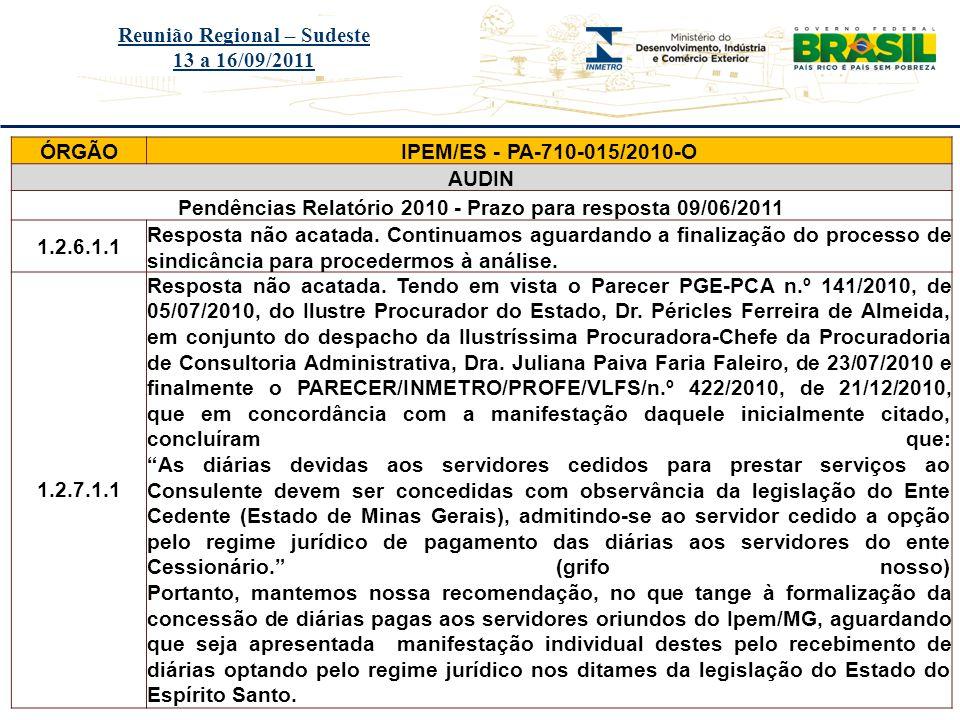 Reunião Regional – Sudeste 13 a 16/09/2011 ÓRGÃO