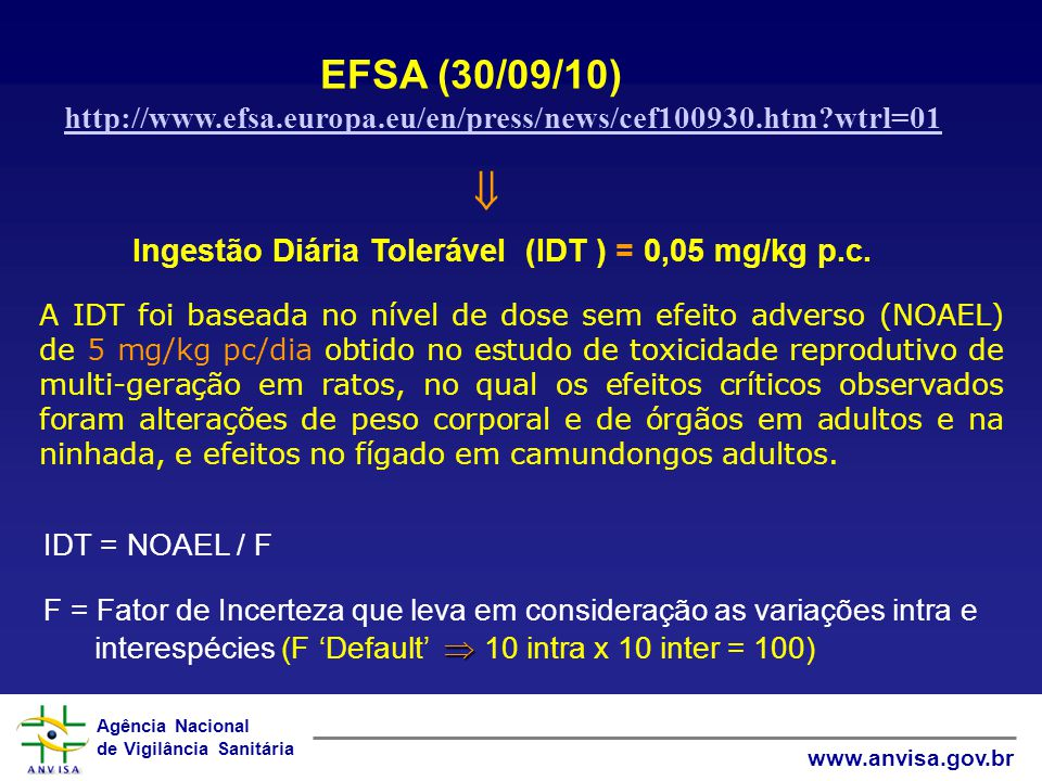 EFSA (30/09/10) http://www.efsa.europa.eu/en/press/news/cef100930.htm wtrl=01.  Ingestão Diária Tolerável (IDT ) = 0,05 mg/kg p.c.