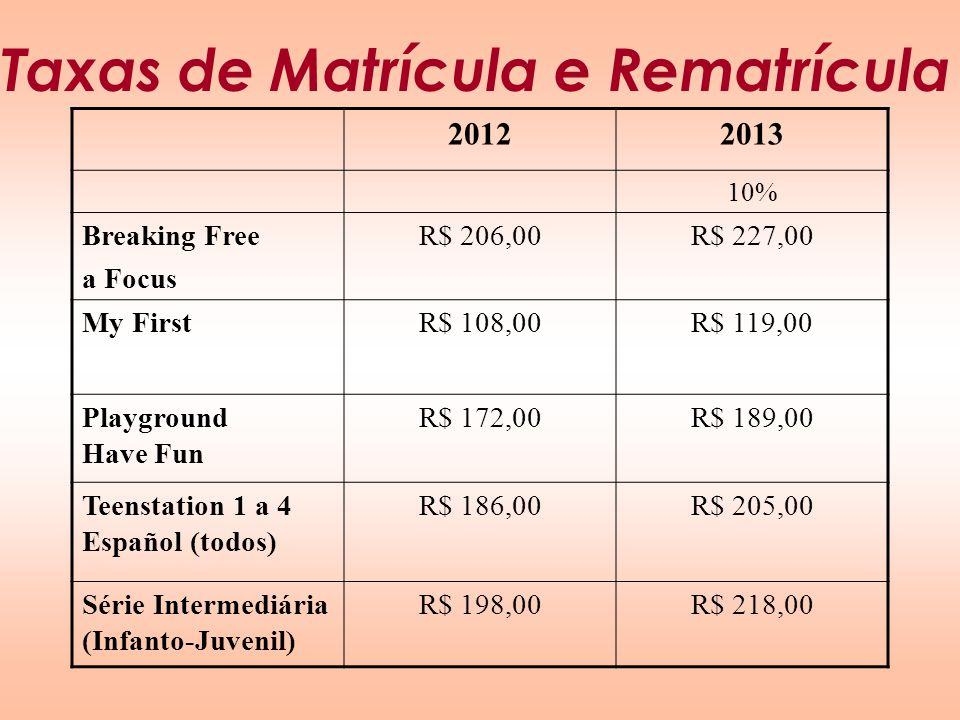 Taxas de Matrícula e Rematrícula