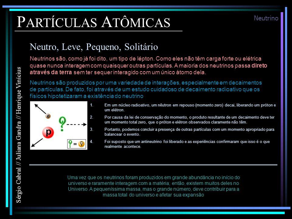 PARTÍCULAS ATÔMICAS Neutro, Leve, Pequeno, Solitário Neutrino