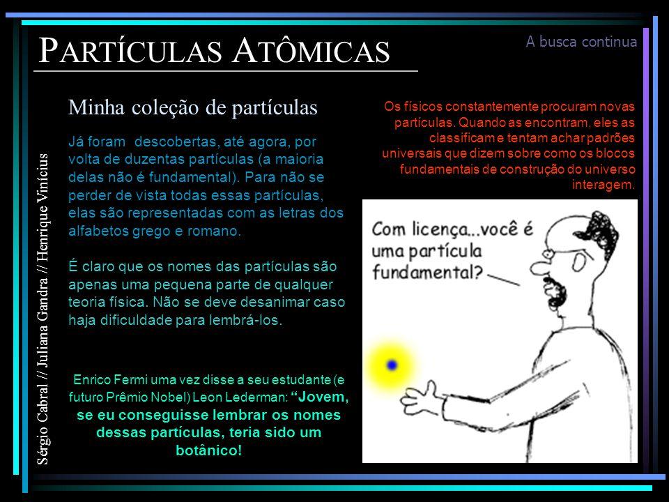 PARTÍCULAS ATÔMICAS Minha coleção de partículas A busca continua