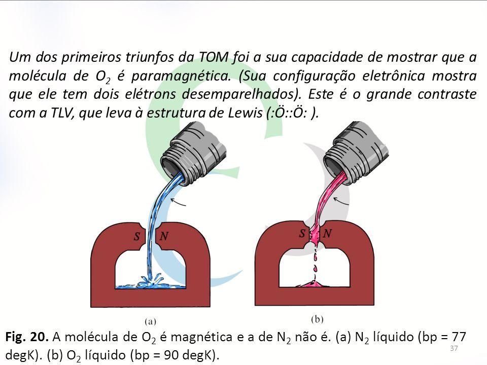 Um dos primeiros triunfos da TOM foi a sua capacidade de mostrar que a molécula de O2 é paramagnética. (Sua configuração eletrônica mostra que ele tem dois elétrons desemparelhados). Este é o grande contraste com a TLV, que leva à estrutura de Lewis (:Ö::Ö: ).