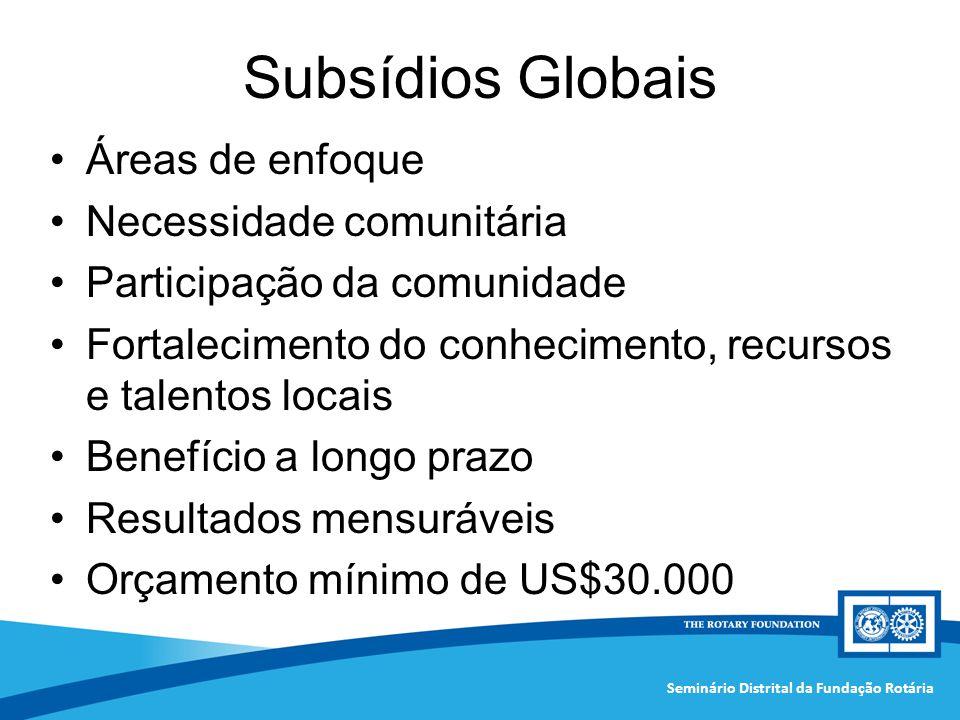 Subsídios Globais Áreas de enfoque Necessidade comunitária