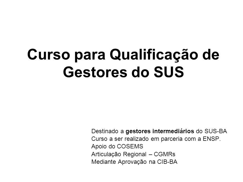 Curso para Qualificação de Gestores do SUS