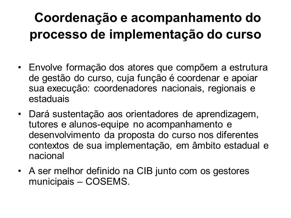 Coordenação e acompanhamento do processo de implementação do curso
