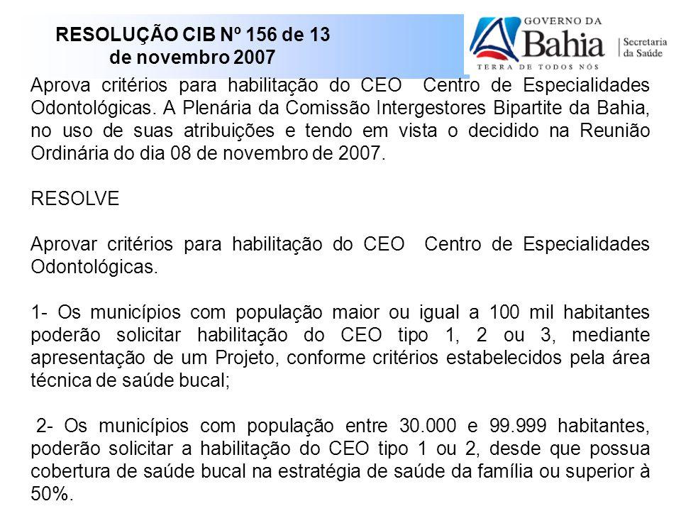 RESOLUÇÃO CIB Nº 156 de 13 de novembro 2007