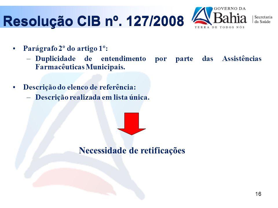 Resolução CIB nº. 127/2008 Necessidade de retificações