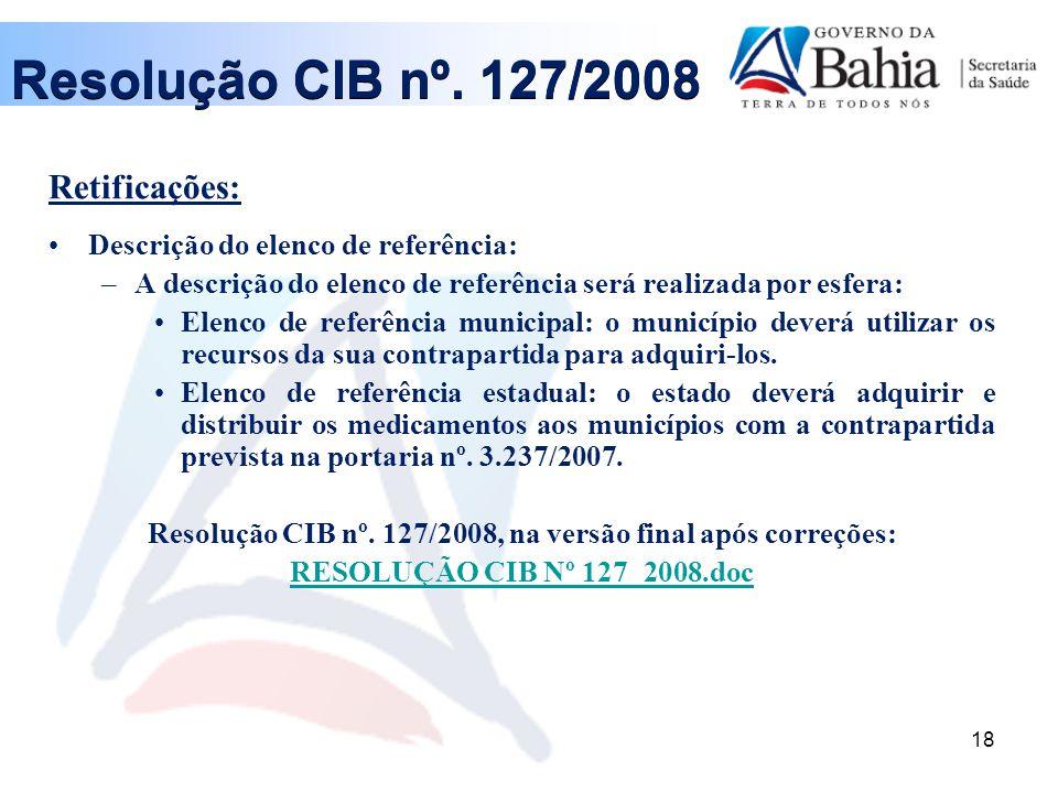 Resolução CIB nº. 127/2008, na versão final após correções: