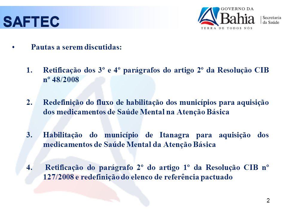 SAFTEC Pautas a serem discutidas: