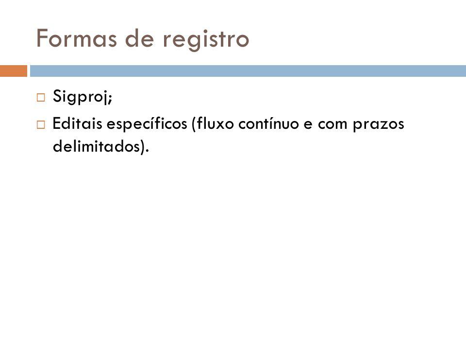 Formas de registro Sigproj;