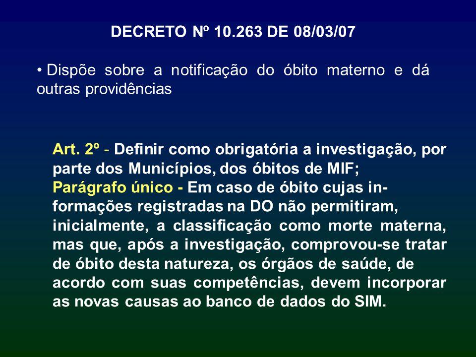 DECRETO Nº 10.263 DE 08/03/07 Dispõe sobre a notificação do óbito materno e dá outras providências.
