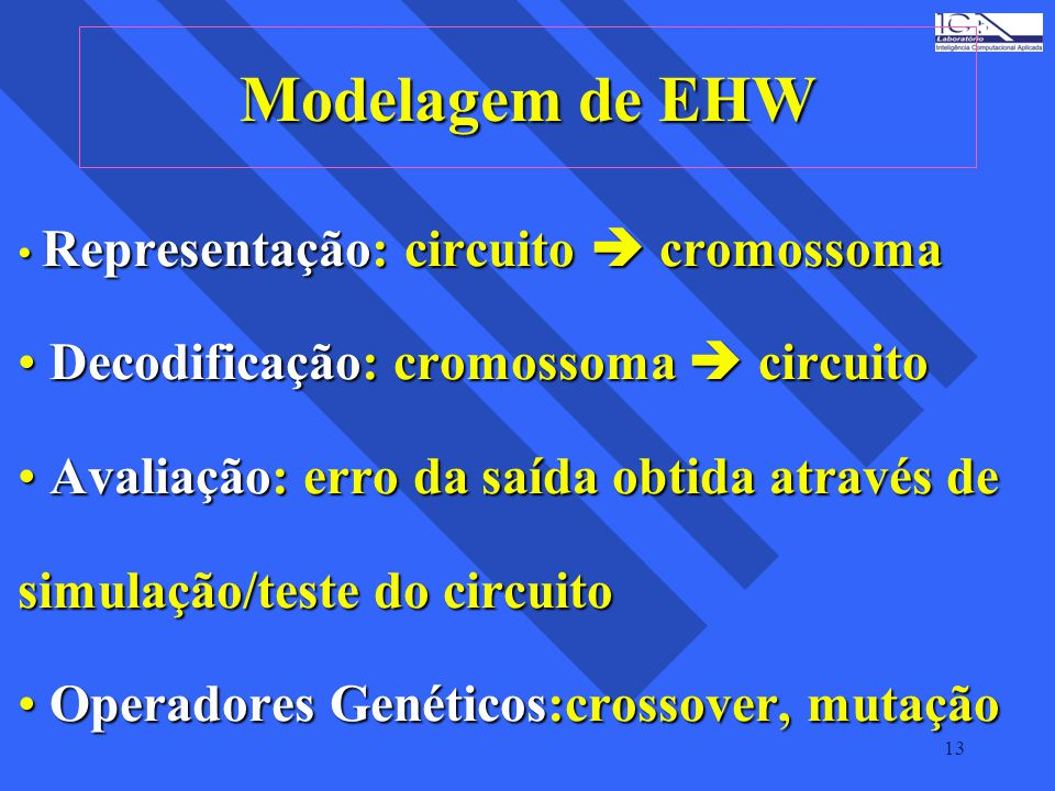 Modelagem de EHW Decodificação: cromossoma  circuito