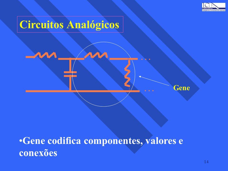 Circuitos Analógicos Gene codifica componentes, valores e conexões
