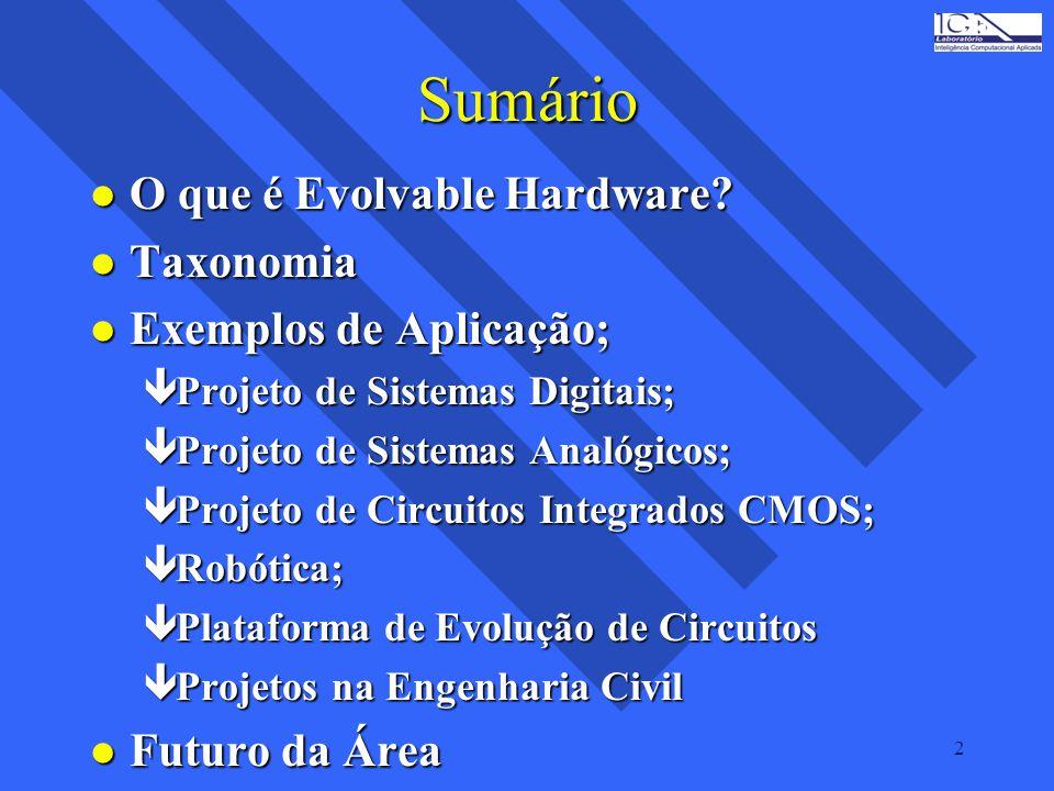 Sumário O que é Evolvable Hardware Taxonomia Exemplos de Aplicação;