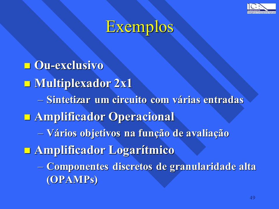 Exemplos Ou-exclusivo Multiplexador 2x1 Amplificador Operacional