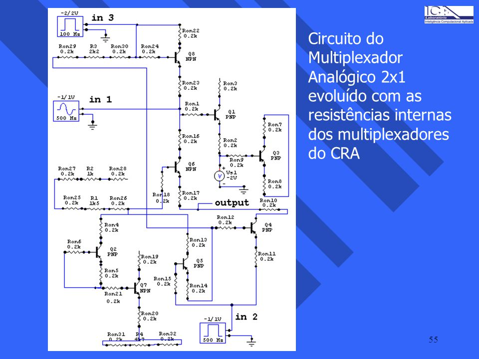 Circuito do Multiplexador Analógico 2x1 evoluído com as resistências internas dos multiplexadores do CRA