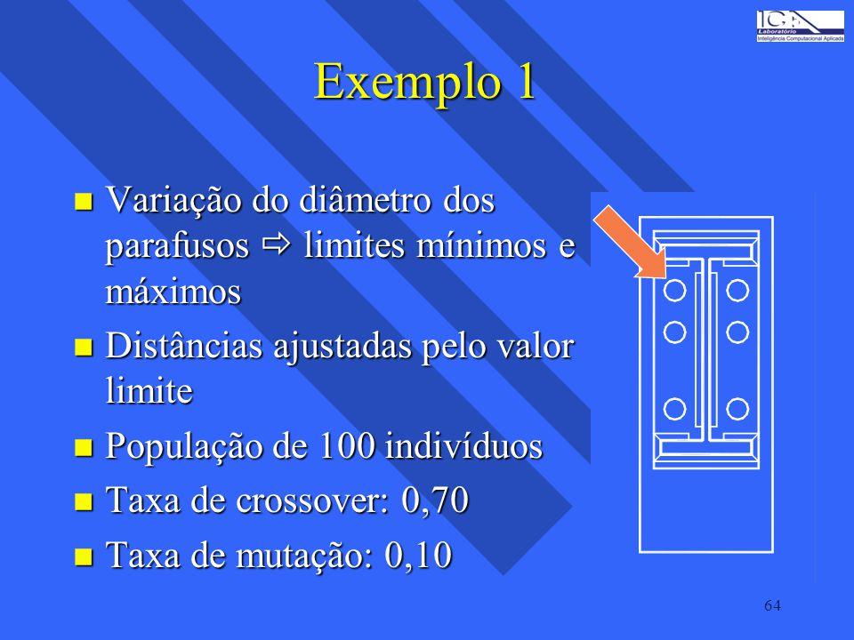 Exemplo 1 Variação do diâmetro dos parafusos  limites mínimos e máximos. Distâncias ajustadas pelo valor limite.