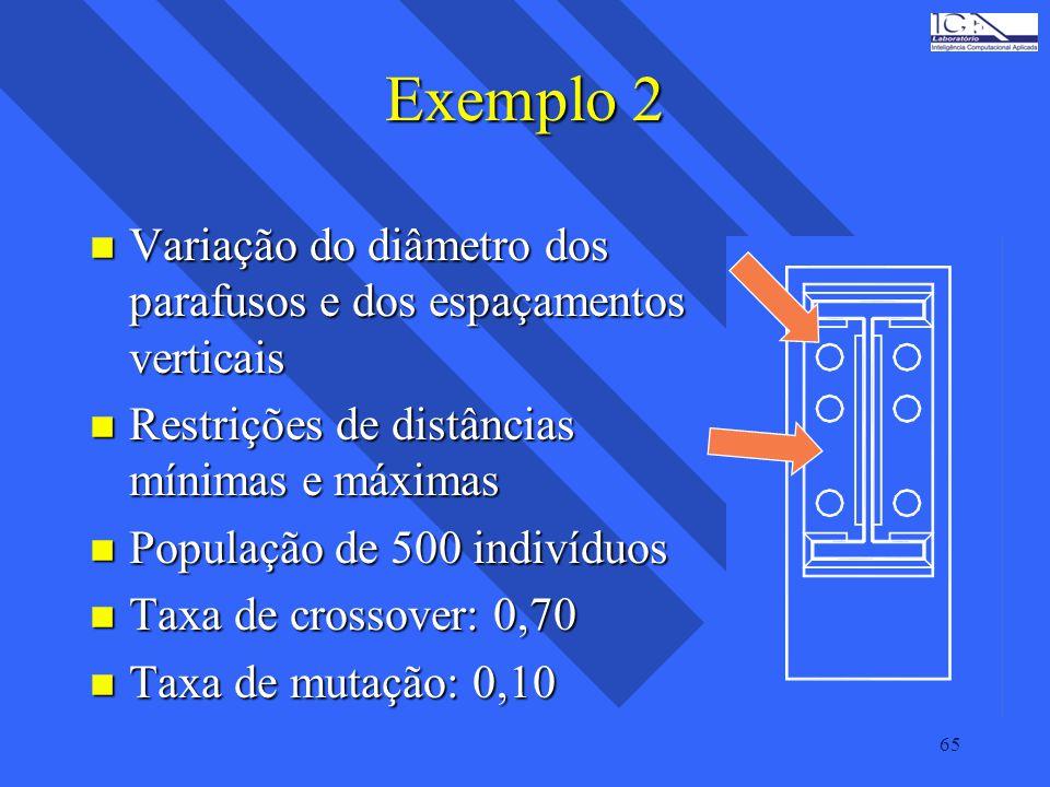 Exemplo 2 Variação do diâmetro dos parafusos e dos espaçamentos verticais. Restrições de distâncias mínimas e máximas.