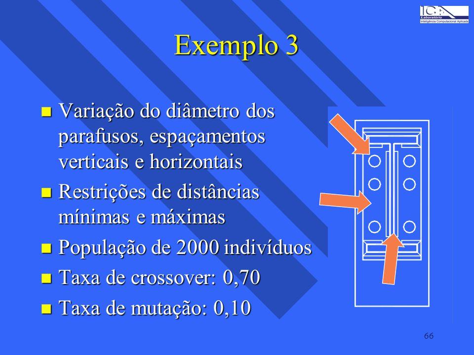 Exemplo 3 Variação do diâmetro dos parafusos, espaçamentos verticais e horizontais. Restrições de distâncias mínimas e máximas.