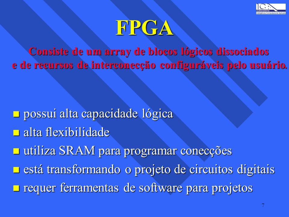 FPGA possui alta capacidade lógica alta flexibilidade