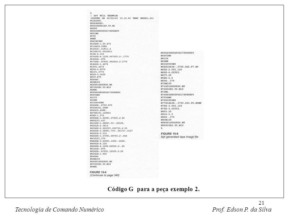 Código G para a peça exemplo 2.