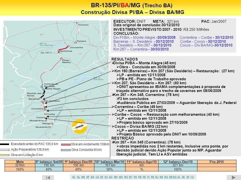 BR-135/PI/BA/MG (Trecho BA) Construção Divisa PI/BA – Divisa BA/MG