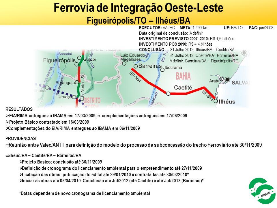 Ferrovia de Integração Oeste-Leste Figueirópolis/TO – Ilhéus/BA