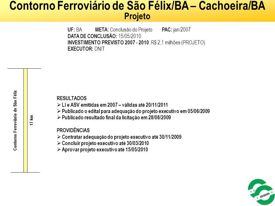 Contorno Ferroviário de São Félix/BA – Cachoeira/BA