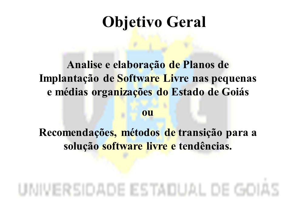 Objetivo Geral Analise e elaboração de Planos de Implantação de Software Livre nas pequenas e médias organizações do Estado de Goiás.