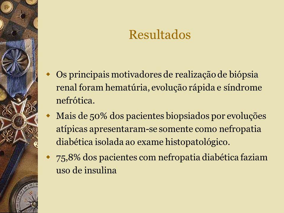 Resultados Os principais motivadores de realização de biópsia renal foram hematúria, evolução rápida e síndrome nefrótica.