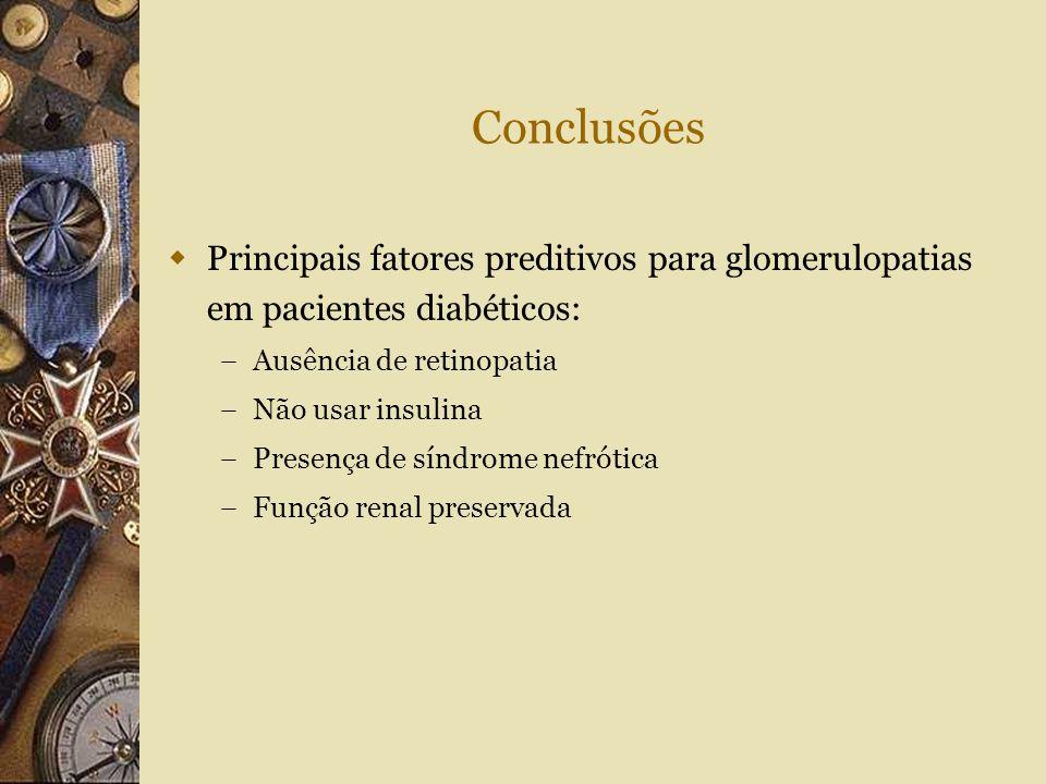 Conclusões Principais fatores preditivos para glomerulopatias em pacientes diabéticos: Ausência de retinopatia.
