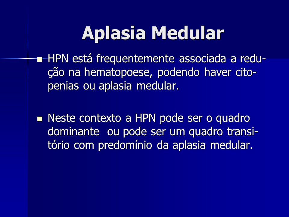 Aplasia Medular HPN está frequentemente associada a redu-ção na hematopoese, podendo haver cito-penias ou aplasia medular.