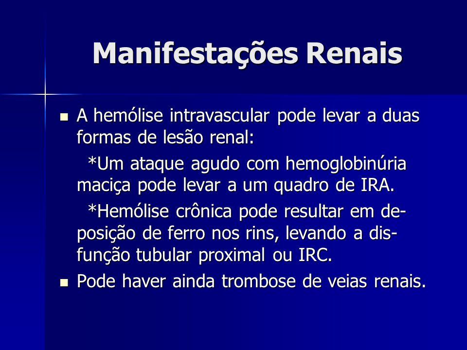 Manifestações Renais A hemólise intravascular pode levar a duas formas de lesão renal: