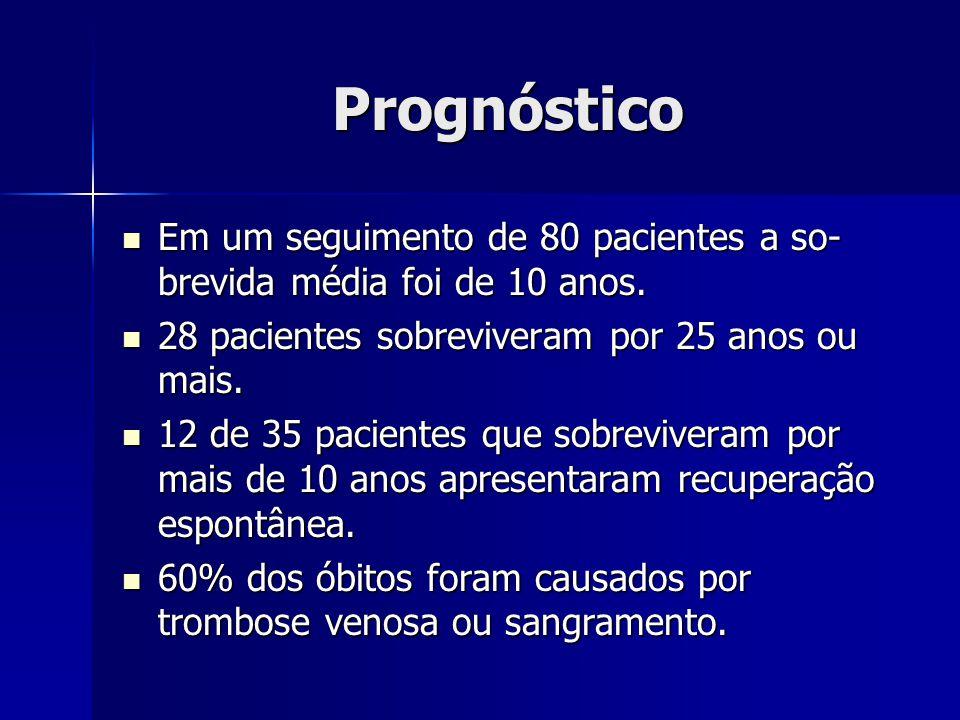 Prognóstico Em um seguimento de 80 pacientes a so-brevida média foi de 10 anos. 28 pacientes sobreviveram por 25 anos ou mais.