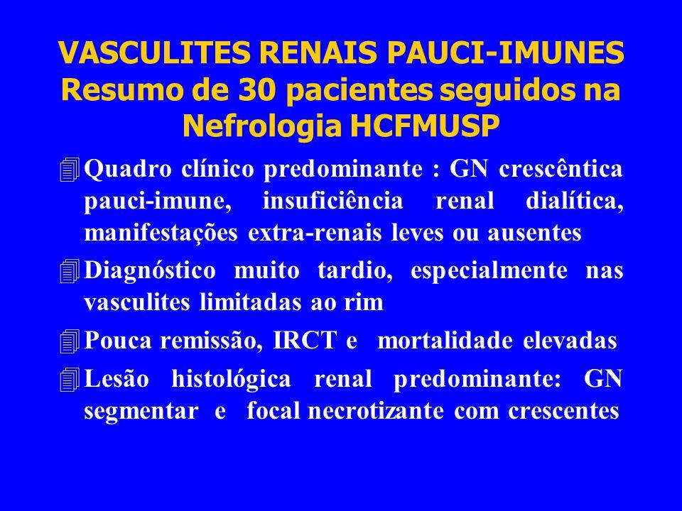 VASCULITES RENAIS PAUCI-IMUNES Resumo de 30 pacientes seguidos na Nefrologia HCFMUSP