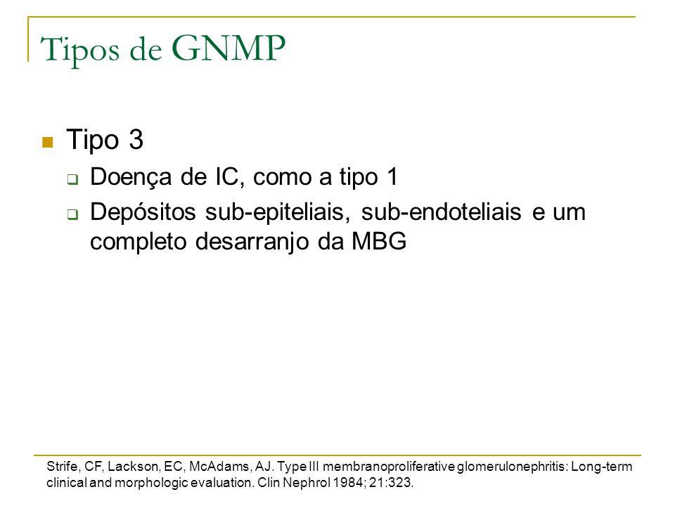 Tipos de GNMP Tipo 3 Doença de IC, como a tipo 1