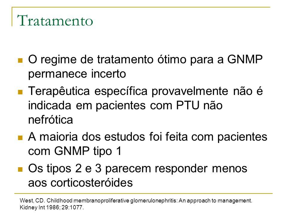 Tratamento O regime de tratamento ótimo para a GNMP permanece incerto