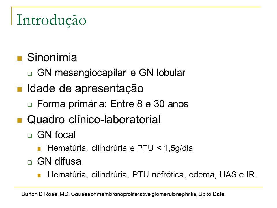 Introdução Sinonímia Idade de apresentação Quadro clínico-laboratorial