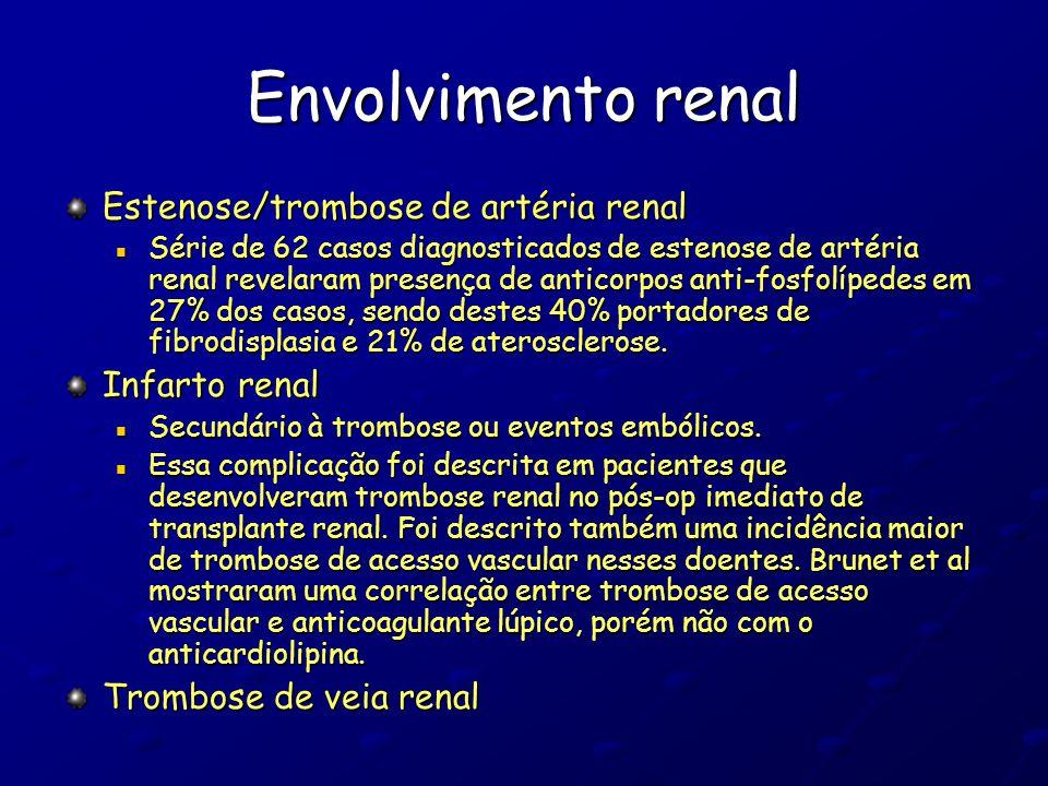 Envolvimento renal Estenose/trombose de artéria renal Infarto renal