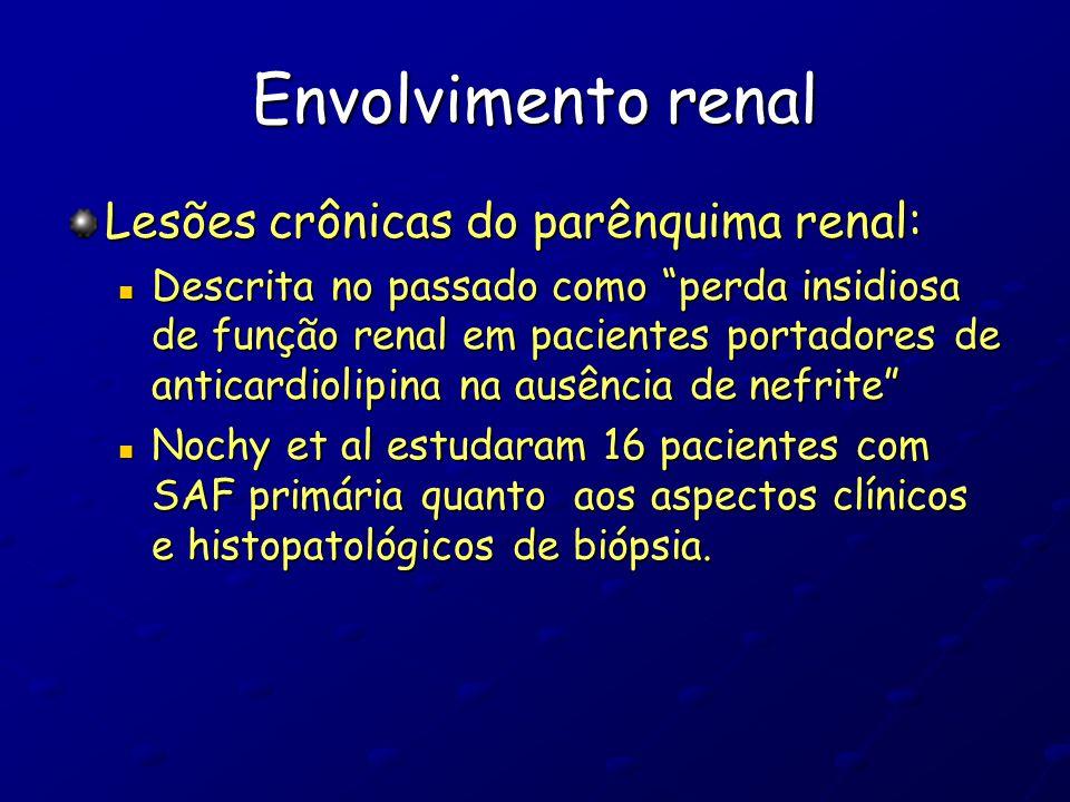 Envolvimento renal Lesões crônicas do parênquima renal: