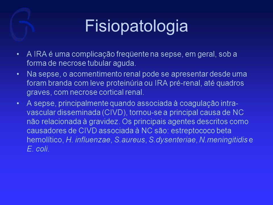 Fisiopatologia A IRA é uma complicação freqüente na sepse, em geral, sob a forma de necrose tubular aguda.