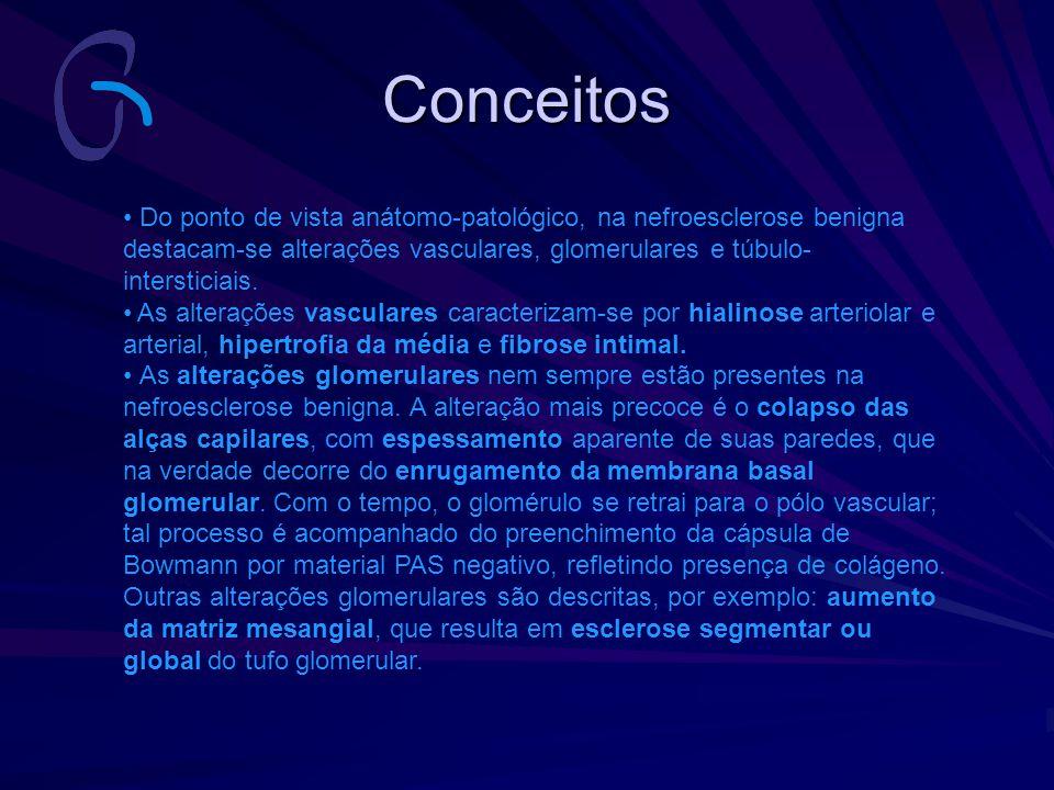 Conceitos Do ponto de vista anátomo-patológico, na nefroesclerose benigna destacam-se alterações vasculares, glomerulares e túbulo-intersticiais.
