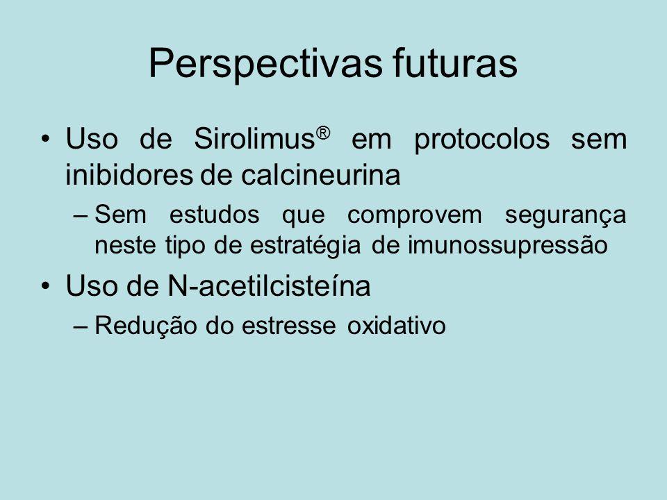 Perspectivas futuras Uso de Sirolimus® em protocolos sem inibidores de calcineurina.