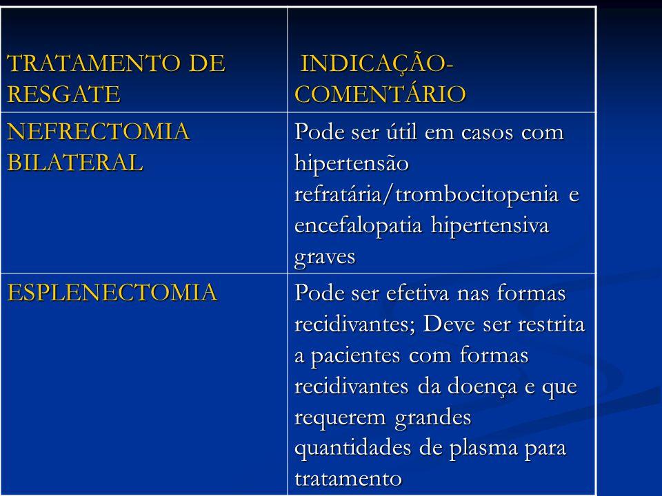 TRATAMENTO DE RESGATE INDICAÇÃO-COMENTÁRIO. NEFRECTOMIA BILATERAL.