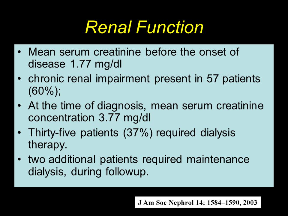 Renal Function Mean serum creatinine before the onset of disease 1.77 mg/dl. chronic renal impairment present in 57 patients (60%);