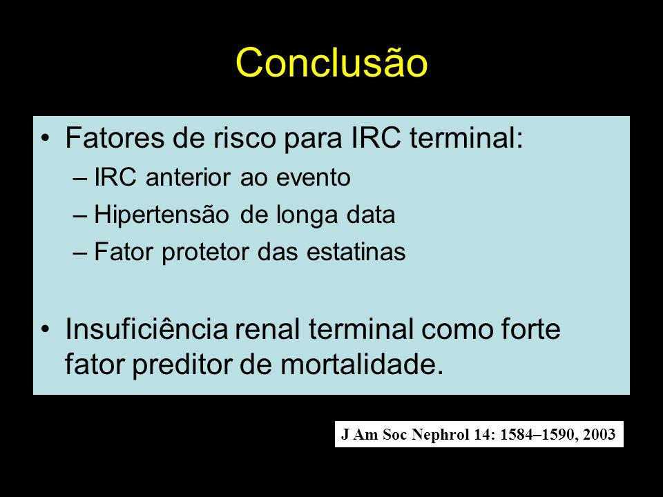 Conclusão Fatores de risco para IRC terminal: