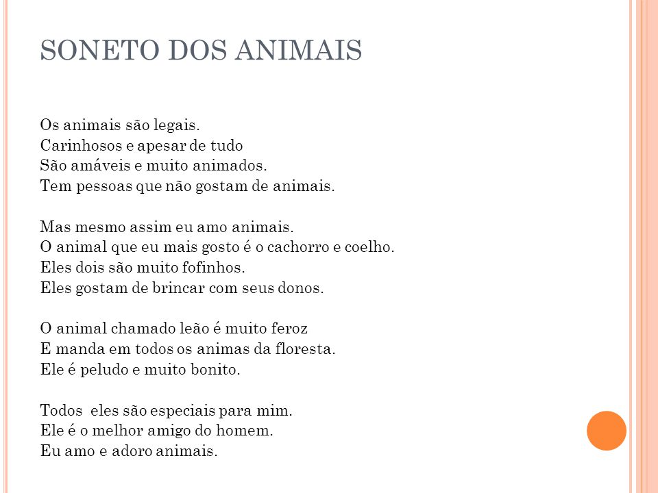 SONETO DOS ANIMAIS