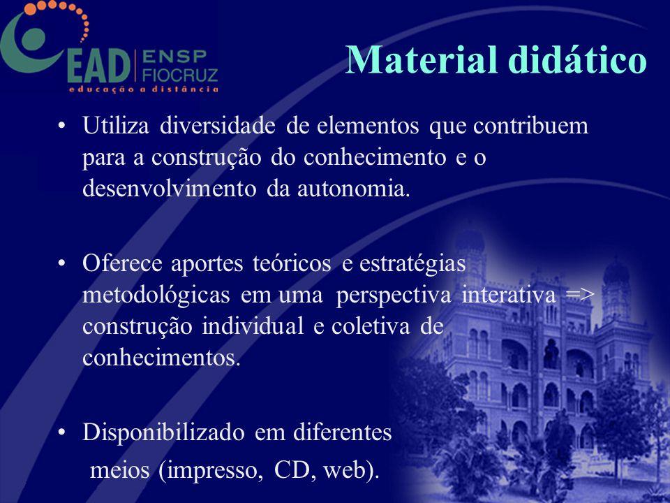 Material didático Utiliza diversidade de elementos que contribuem para a construção do conhecimento e o desenvolvimento da autonomia.