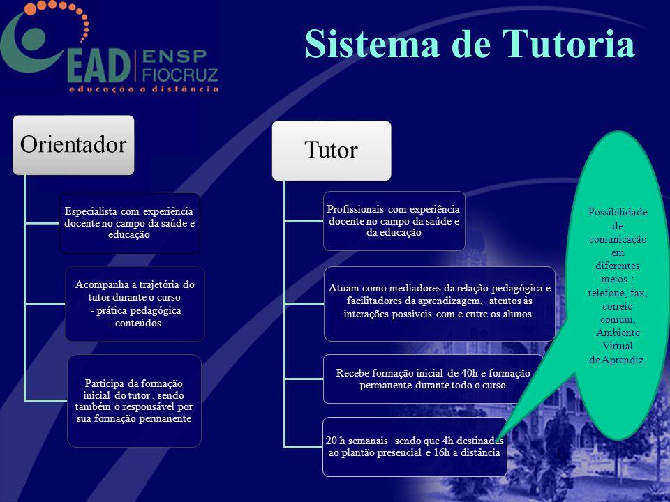 Sistema de Tutoria Orientador. Especialista com experiência docente no campo da saúde e educação. Acompanha a trajetória do tutor durante o curso.