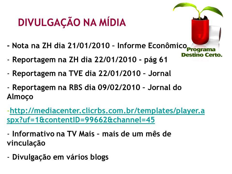 DIVULGAÇÃO NA MÍDIA - Nota na ZH dia 21/01/2010 – Informe Econômico